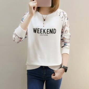 Women's Hong Kong-style Retro Long Sleeve Sweatshirt (158 * white (thin section))