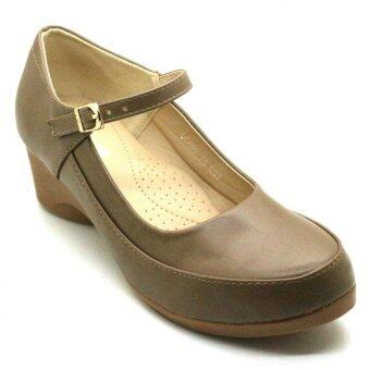 Harga XES Women LC660-A5 Mary Jane Wedge Shoes (Khaki)