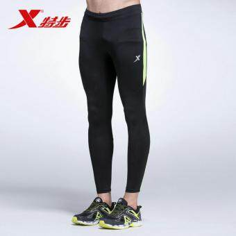 XTEP Men's Running Pants Tights Compression Skin Basic LayerTraining Body Building Fitness (Black/Green) - 2