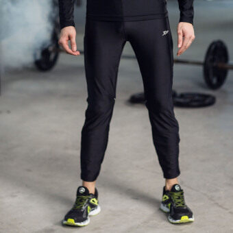 XTEP Mens Tight Sport Pants Ankle Length Compression Base LayerMarathon Running Pants Gym Outfit Cycling Trousers (Black) - 2
