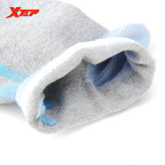 XTEP Women's Cotton Professional Comfortable Elasticity BreathableAthletic Sports Ankle Socks Travel Outdoor Indoor Socks (Grey/Blue) - 2