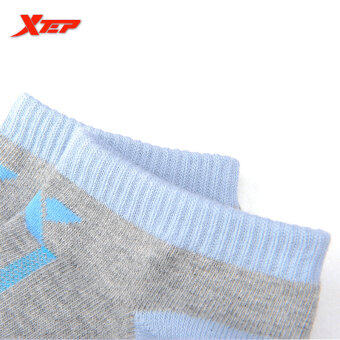 XTEP Women's Cotton Professional Comfortable Elasticity BreathableAthletic Sports Ankle Socks Travel Outdoor Indoor Socks (Grey/Blue) - 4