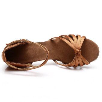 Yashion 217 Women Satin Ballroom Salsa Latin Dance Shoes (Brown) - 3