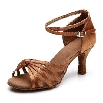 Yashion 217 Women Satin Ballroom Salsa Latin Dance Shoes (Brown) - 2