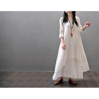Yazilind Boho Hippie Women Long Sleeve Cotton Linen Casual Long Maxi Dress Amy White - 2