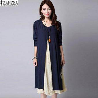 ZANZEA Plus Size M-5XL Women Round Neck Long Sleeve Dress Retro Ladies Patchwork Splicing Tunic Loose Long Dress Kaftan Vestido (Navy) - 3