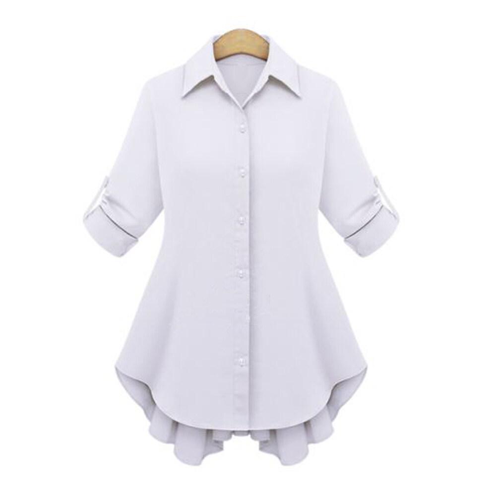 ZANZEA Women Long Sleeve Chiffon Shirt Tops Frilled Hem Blouse ...