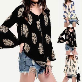 ZANZEA Womens Lace-Up V-Neck Shirt Oversized Boho Floral PrintFlare Sleeve Casual Loose Blouse Tops (Navy) - 2