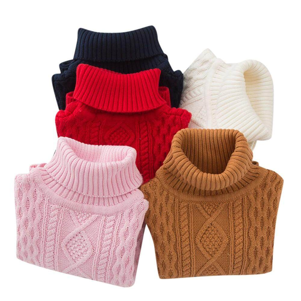 Children Baby Girls Boy Knitted Turtleneck Sweater Solid Sewing Warm Top Clothes