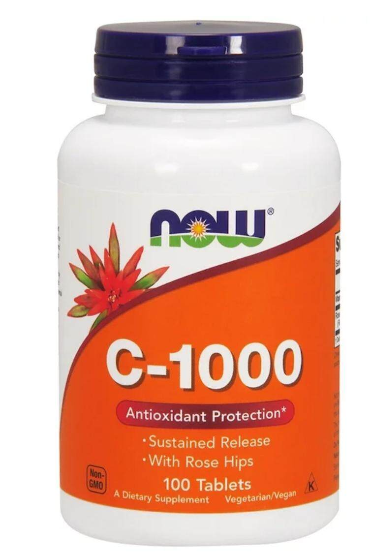 C-1000, 100 Tablets, Vitamin C 1000mg, Sustained Released, With Rosehip, Time Released