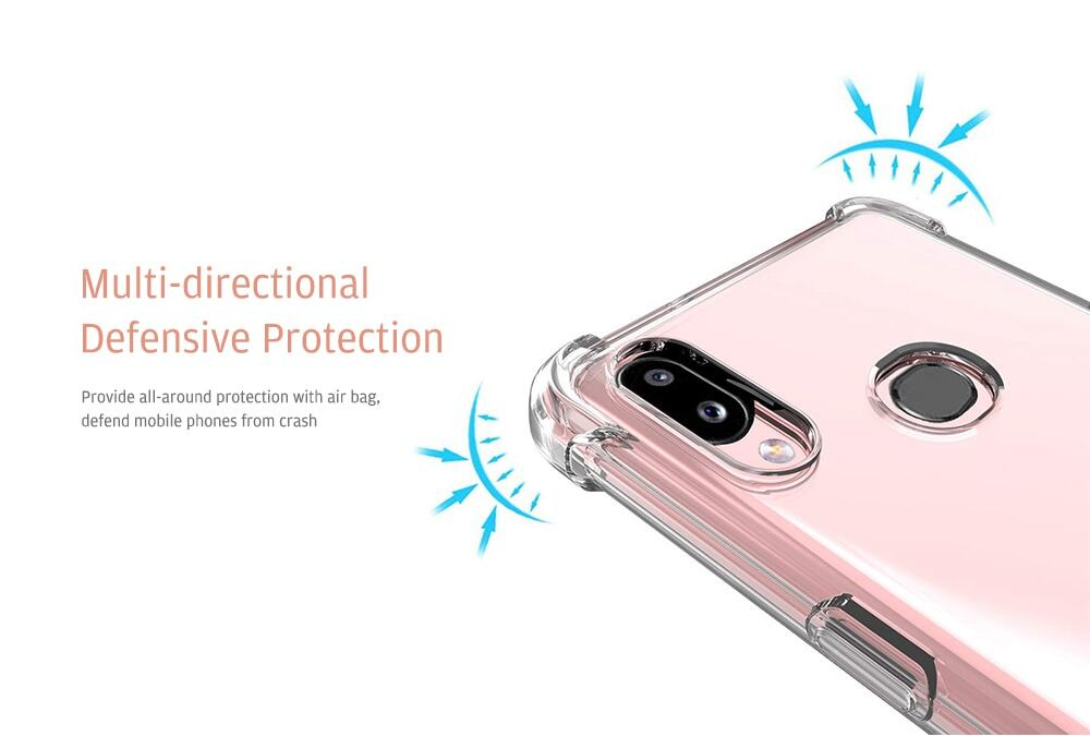 Naxtop Soft TPU Shockproof Phone Case Protective Cover for Samsung Galaxy A10s / A20 / A30 / A40 / A50 / A70- Transparent For Galaxy A10s