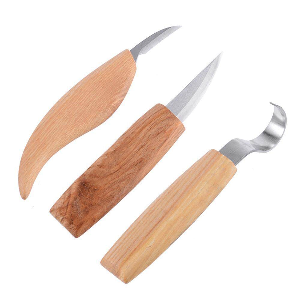 OnLook 3Pcs Wood Carving Tools Kit,Stainless Steel Blade Wood Carving Hook  Chip Carving Spoon Carving Crooked Tool Set For Beginners Woodworking Craft