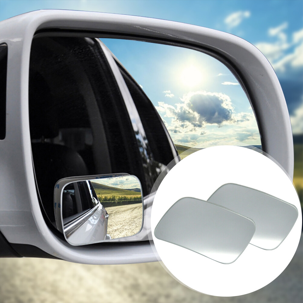 1 Pair Universal Square Car Wide Angle Convex Rear View Mirror Blind Spot Mirrors with Tape for any Vehicles Auto
