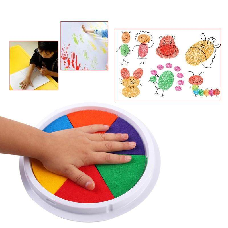 Funny-6-Colors-Ink-Pad-Stamp-DIY-Finger-Painting-Craft-Cardmaking-Large-Round-For-Kids-Learning