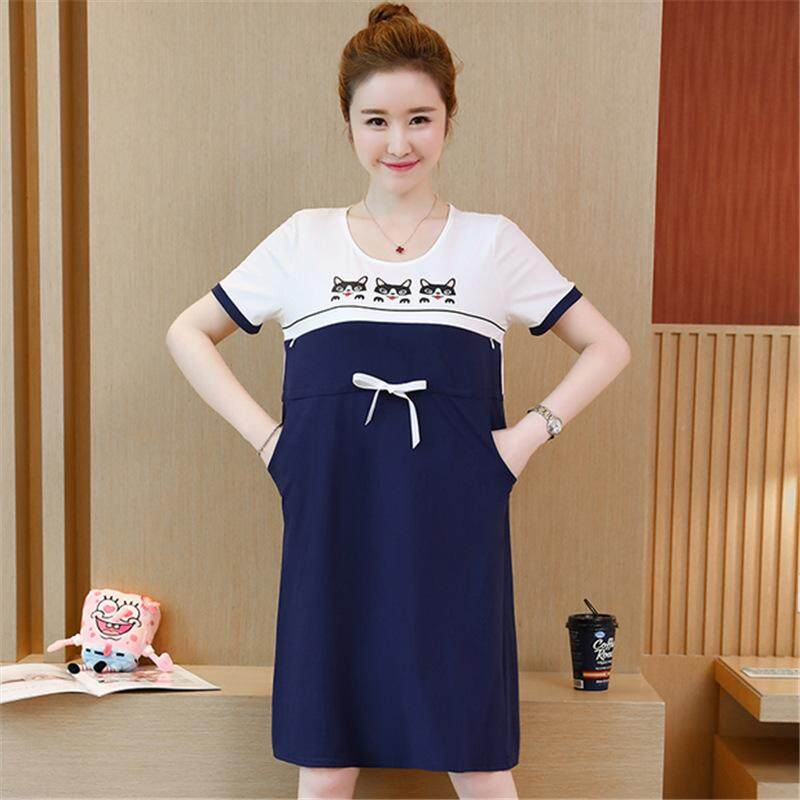 f8881ec34482c Product details of AngelCityMall Pregnancy Clothing Summer New Style Korean-style  Cartoon Pregnant Women Skirt Color Panel Cartoon Print Nursing Dress