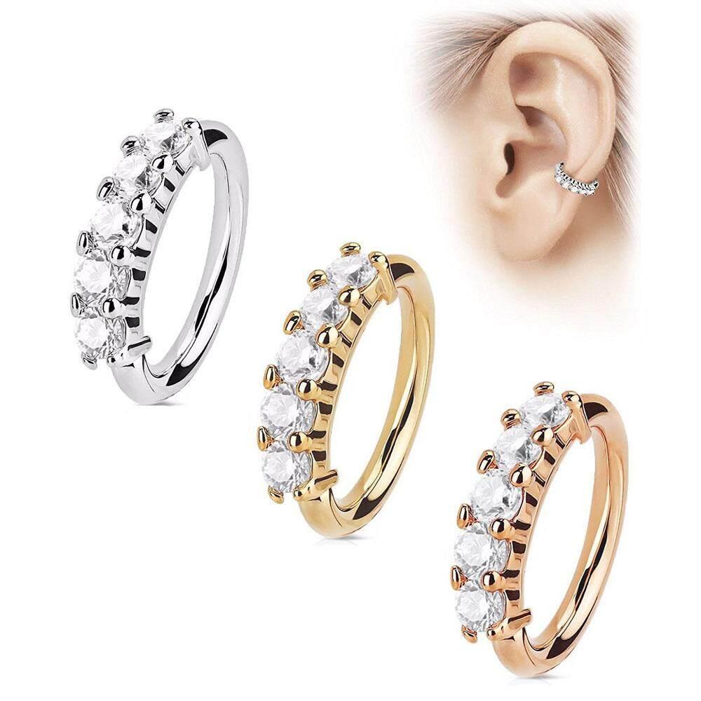 Nose Ring Ear Hoop Tragus Helix Cartilage Earrings Crystal Stainless Steel.