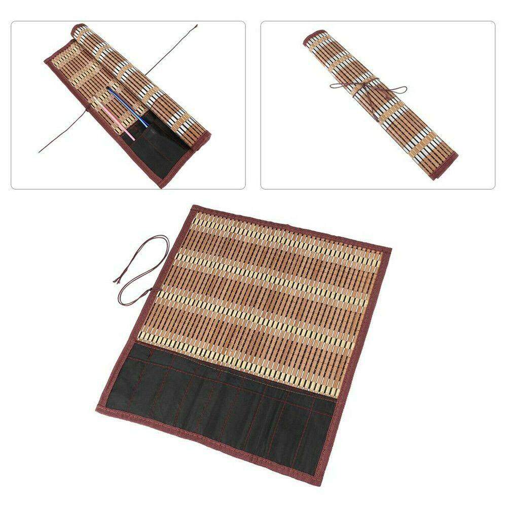 Painting Brush Holder Bamboo Roll Up Bag Calligraphy Pen Case Curtain Pack New