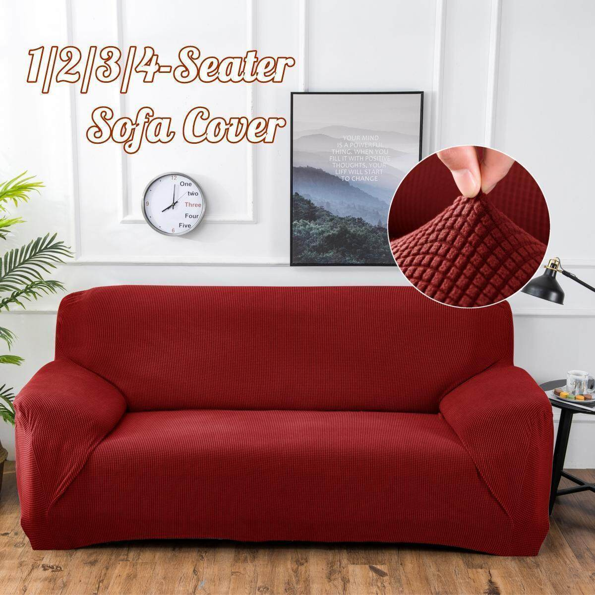 Polar Fleece Thickened Spandex Elastic Stretch Sofa Cover Slipcover Couch  Rose Red 3 Seat Pillow Case Chair Cover