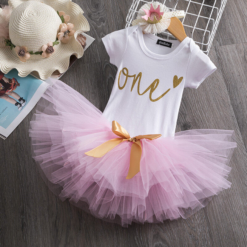 Baby Girls Birthday Romper Jumpsuit Tutu Skirt Dress Headband Set Toddler Outfit