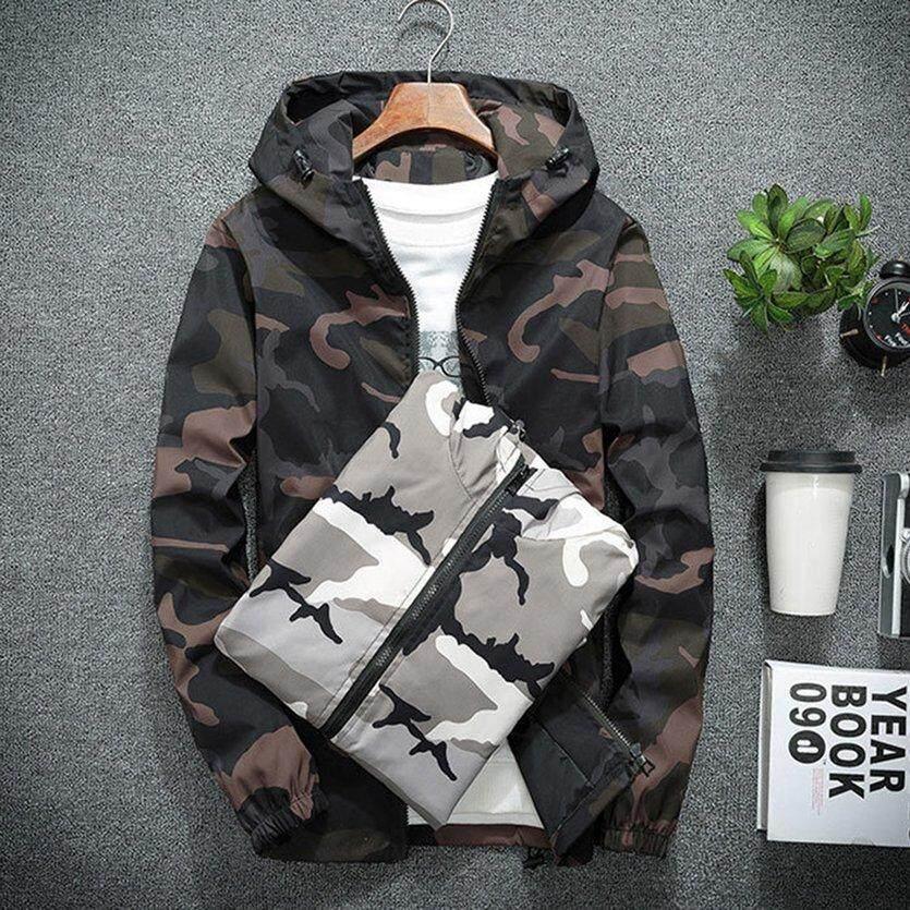 OH Fashionable Men Camouflage Printed Jacket Long Sleeve Zipper Hooded  Jackets