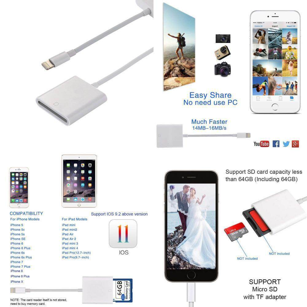 SD Card Reader & Micro SD To Flash Cable Adapter for iPhone X 8 7 6 6S Plus