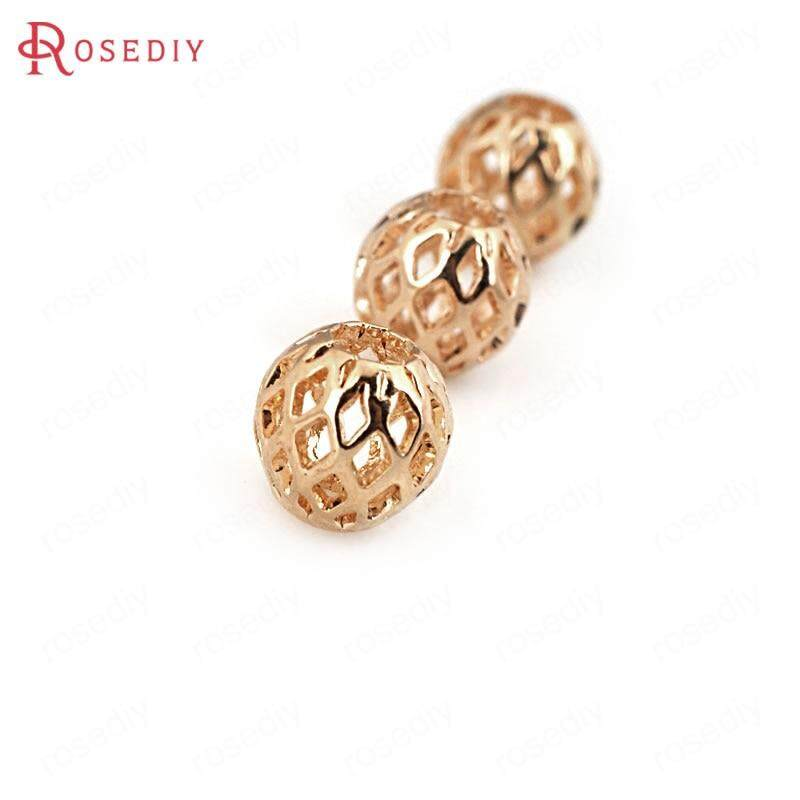 5pcs Golden Brass Ball Round Beads Carved Loose Spacer Beading Craft 5.3x6mm