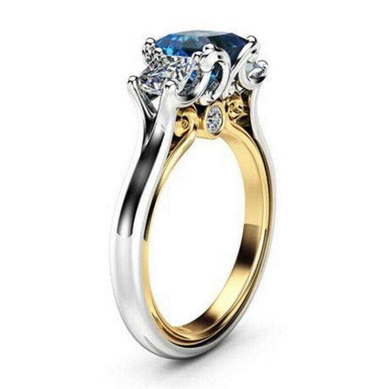 Elegant Women 925 Silver Wedding Rings Set Princess Cut White Sapphire Size 6-10