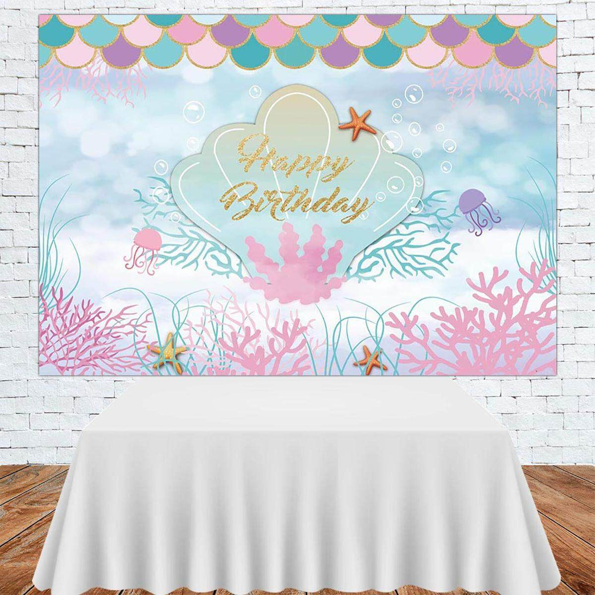 150x100cm The Sea Little Mermaid Backdrop Purple Pink Mermaid Scales Teal Shell Ocean Party Background Girls Birthday Decorations Lazada Ph