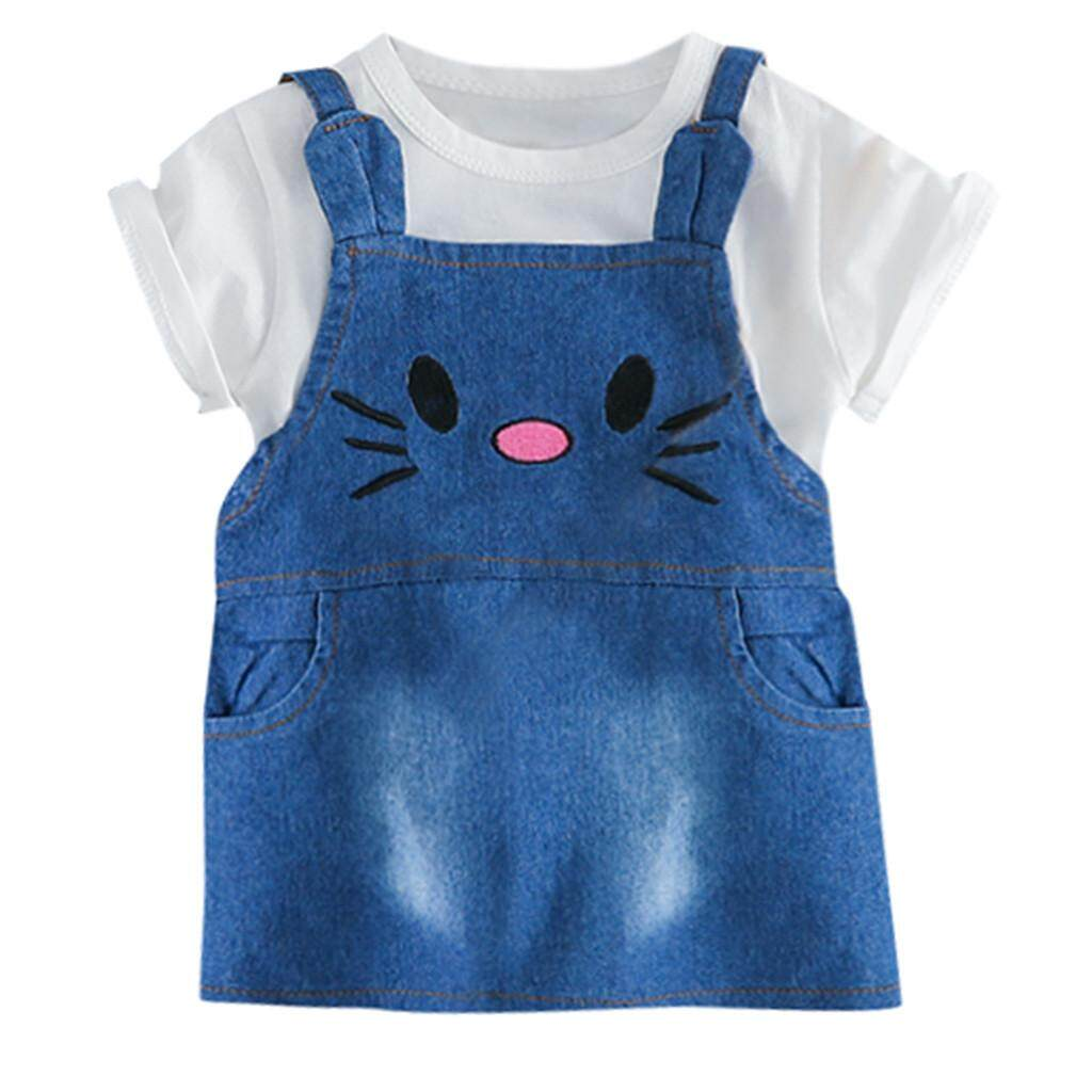 Clothing Sets Girls' Clothing Toddler Baby Kids Boys Girls Letter Tops Tee Cat Overall Denim Dress Outfits Set