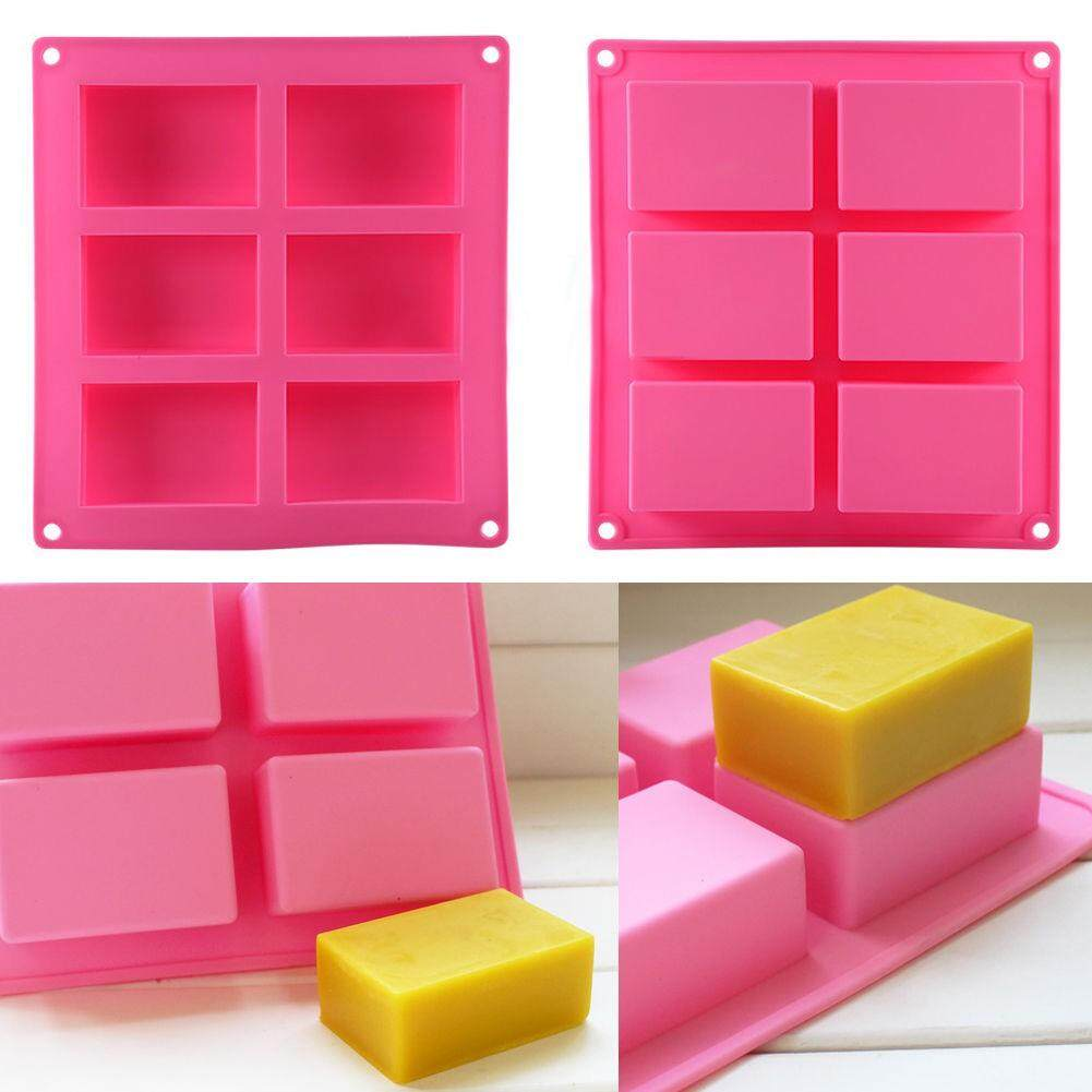 6 Cavities Rectangle Silicone Soap Molds for Homemade Craft Soap Mold Cake Mold Chocolate Mold & Ice Cube Tray(Purple & Pink) Silicone Soap Molds Set of 4