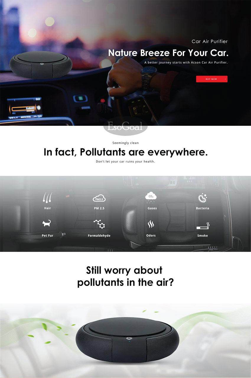 EsoGoal Z1 Car Air Purifier Humidifier Aroma Diffuser HEPA Filter and  Negative Ion Generator PM2 5 Treatment powered by USB for Room/Car (FREE  USB Car