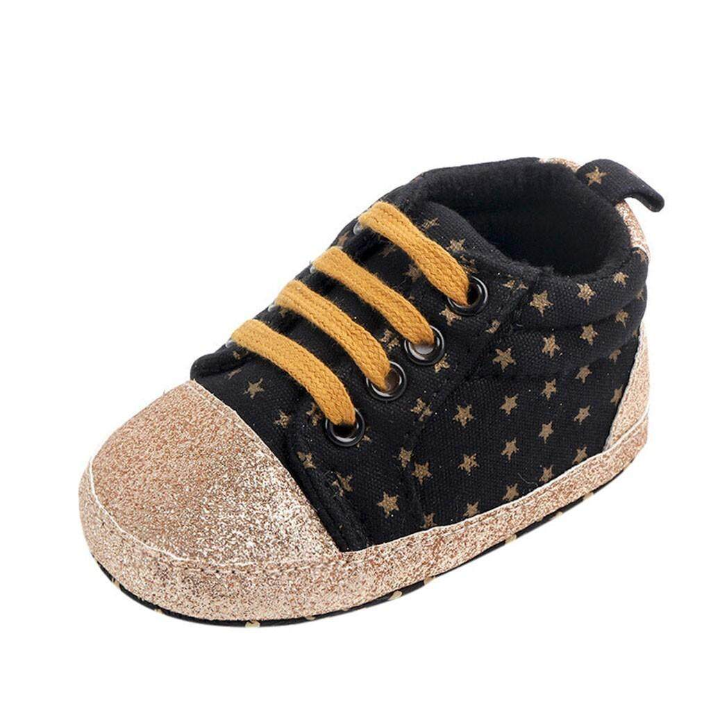 Newborn Toddler Baby Girl//Boy Canvas Anti-slip Crown Soft Sole Casual Shoes Gift