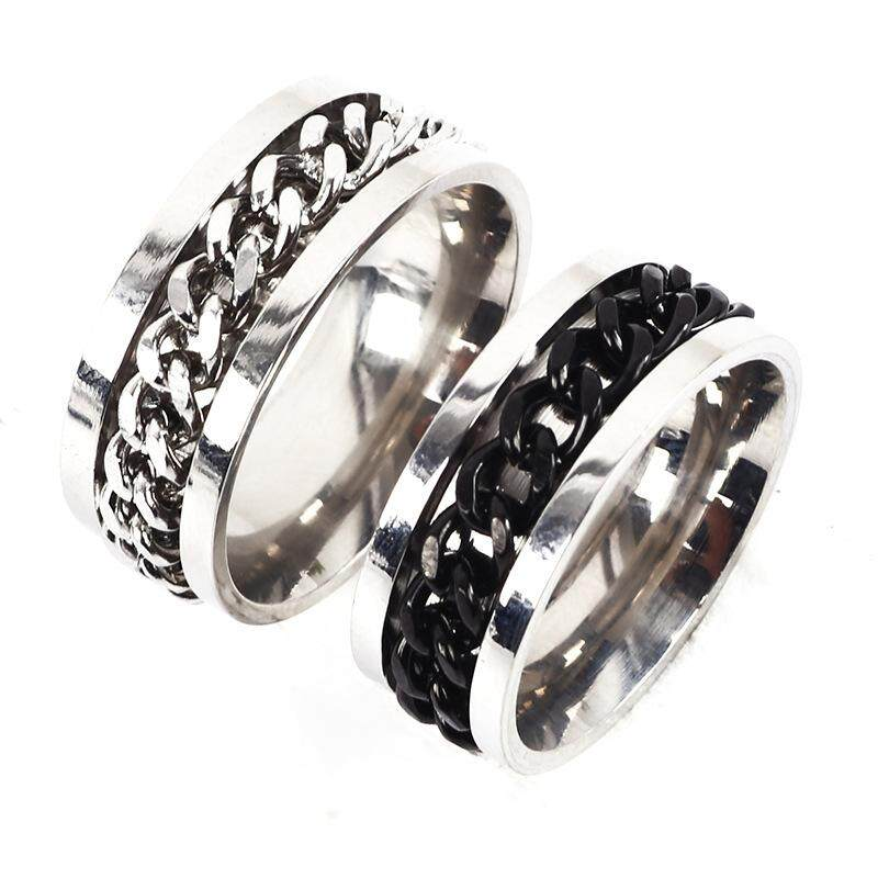 Steel-titanium men's ring Stainless steel chain rotating ring Factory direct