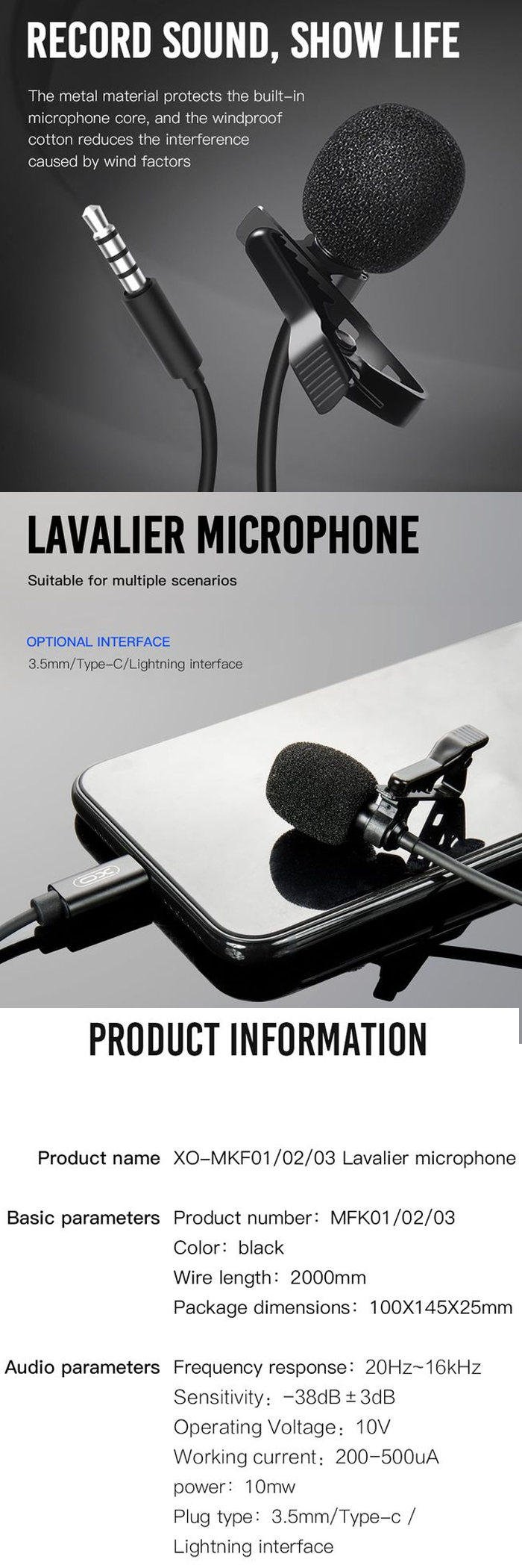 XO MK-F01 3.5mm Clip On Microphone - Black | Lazada PH