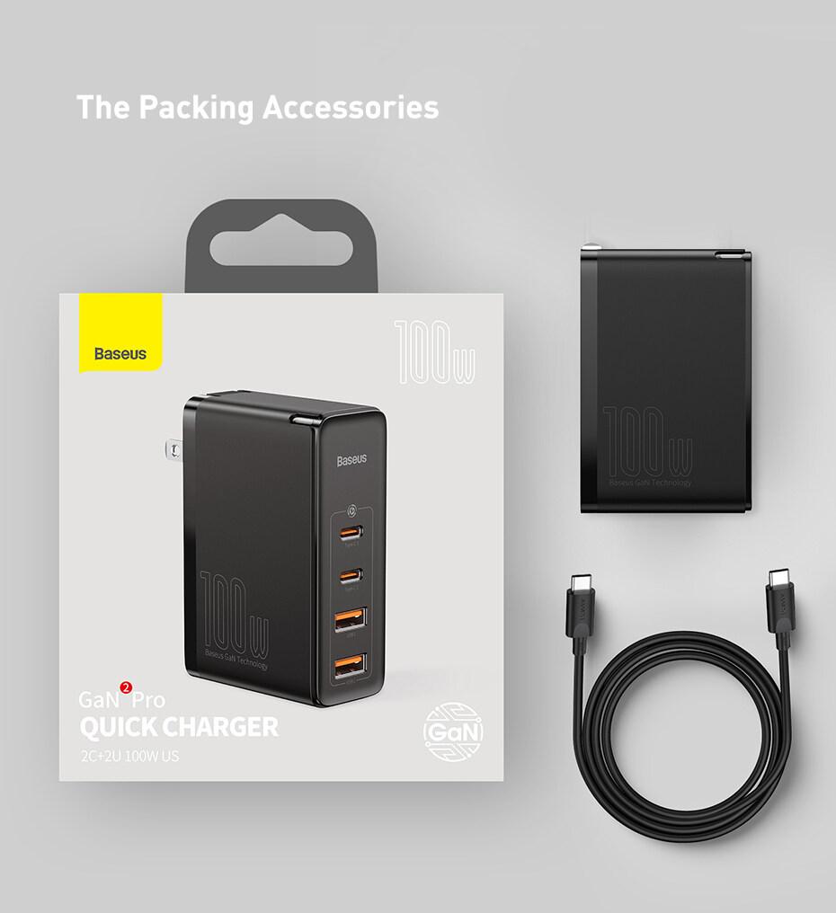 Baseus GaN2 Proที่ชาร์จเร็ว2C + 2U 100W USปลั๊กประเภทC USBตาบอดInterpolationสี่พอร์ตอุปกรณ์ชาร์จโทรศัพท์ในรถยนต์Fastสายชาร์จใช้งานร่วมกับแล็ปท็อป | Lazada.co.th