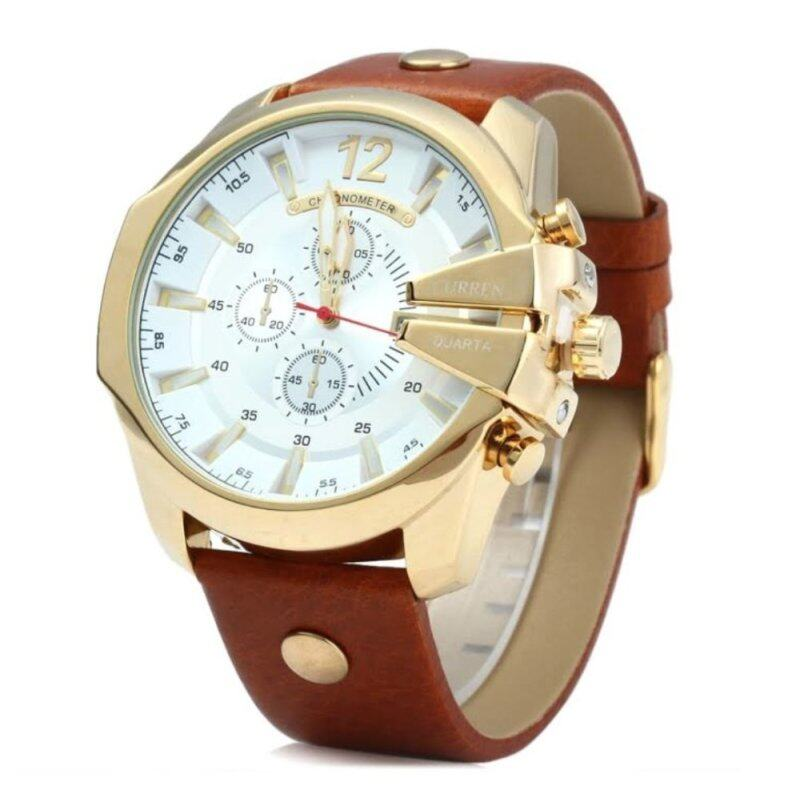 (100% Authentic) CURREN 8176 Men Casual Calendar Three Eyes Round Dial Leather Quartz Watch - Gold and White (Japan Movement 7T35) Malaysia