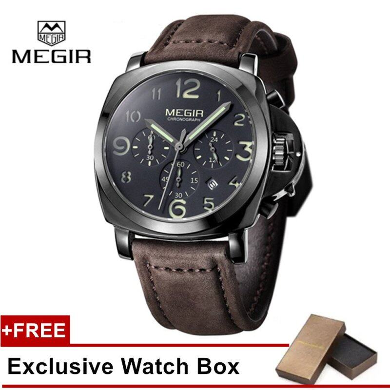 (100% Authentic) MEGIR 3406 Mens Leather Military Style Analog Quartz Wrist Watch Calendar Chronograph 3ATM Water Resistant Malaysia