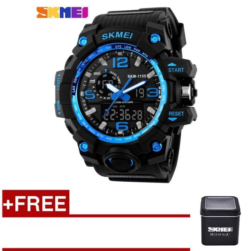 [100% Genuine]SKMEI 1155 Fashion Men Digital LED Display Sport Watches 50M Waterproof Dual Display Quartz Wristwatches with Box - Blue Malaysia