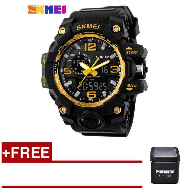 [100% Genuine]SKMEI 1155 Fashion Men Digital LED Display Sport Watches 50M Waterproof Dual Display Quartz Wristwatches with Box - Gold Malaysia