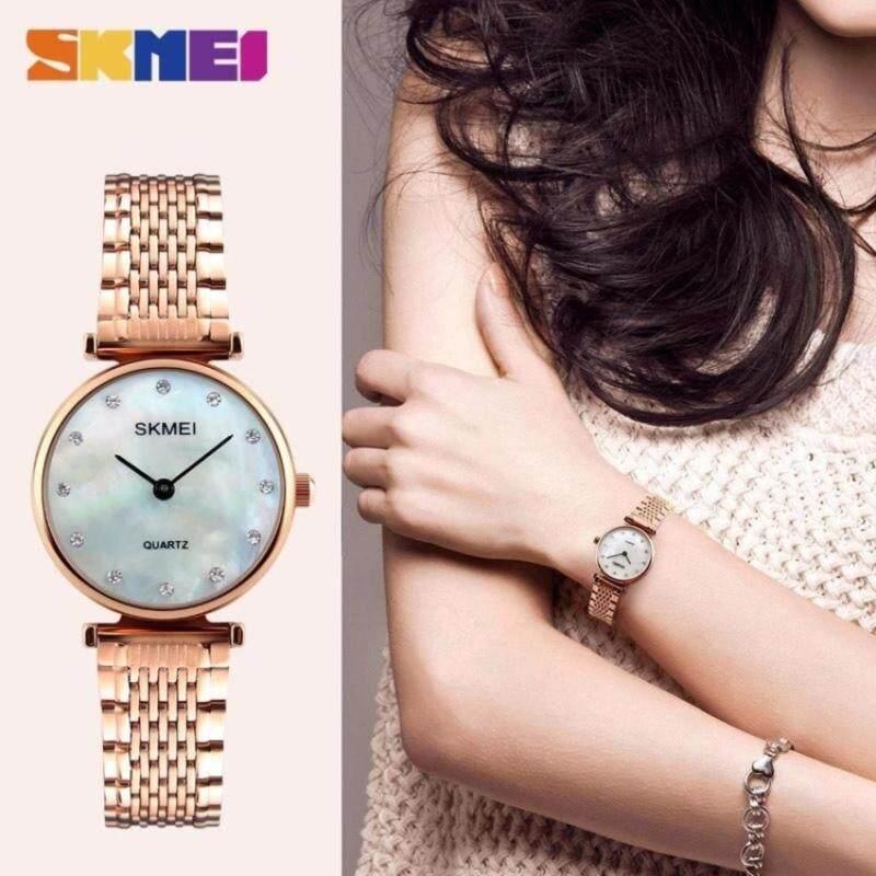 [100% Genuine]SKMEI Women  Quartz Watches Girls Wristwatches Rhinestones Waterproof casual luxury 1223  Rose Gold Shell Malaysia