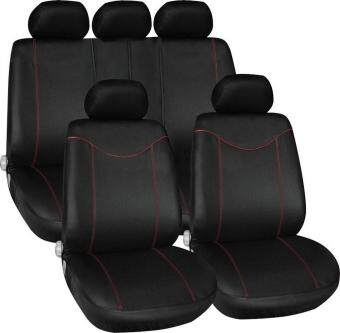 11 pcs Full Seat Cover Set Car Seat Cover Low Front Back Set Black+ Red Edge