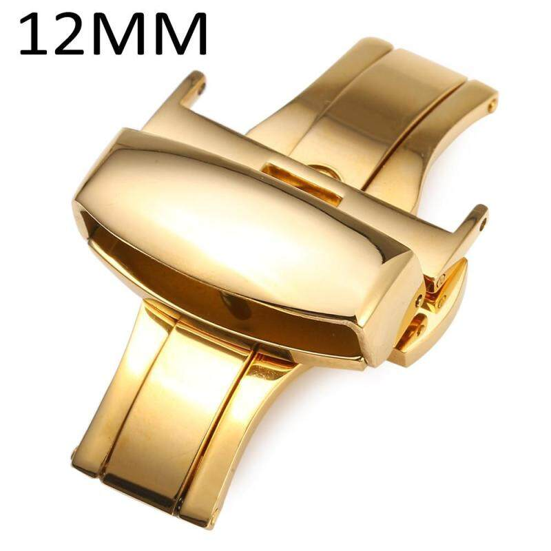 12mm Stainless Steel Butterfly Buckle Double Push Automatic Strap Clasp Polished For Watch Band Malaysia