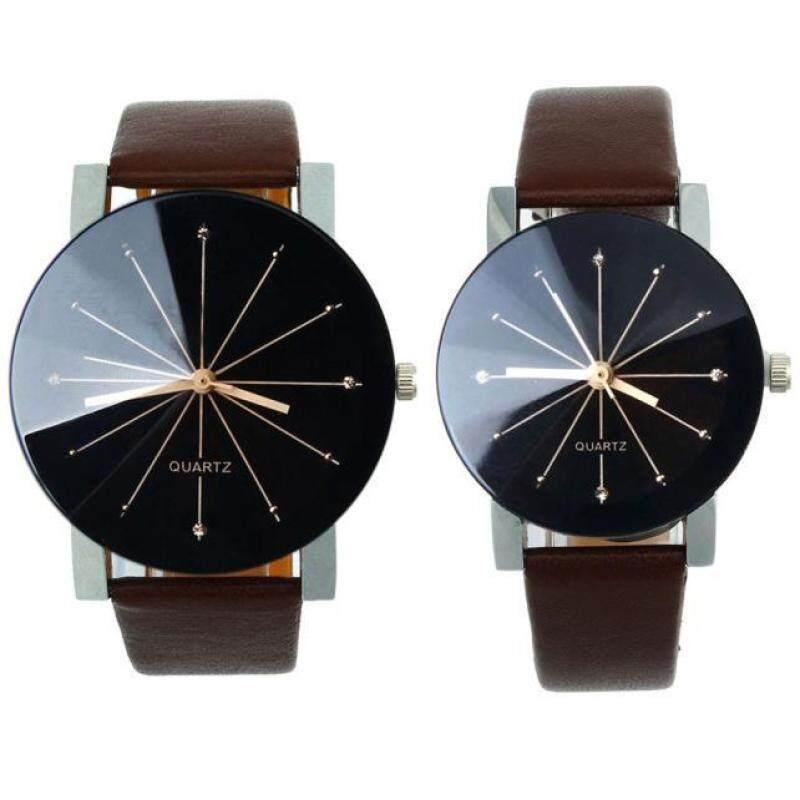 1Pair Couple Watch Men and Women Fashion Quartz Dial Clock Leather Wrist Watch Malaysia