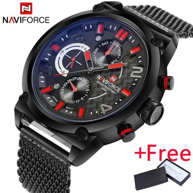 2017 NAVIFORCE Luxury Brand Mens Analog Quartz 24 Hour Date Watch Jam Tangan es Man 3ATM Waterproof Clock Men Sport Full Steel Wrist Watch Jam Tangan Malaysia