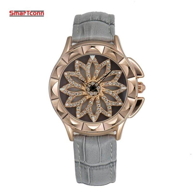 2017 New Diamonds Luxury Brand For Montre Femme Fashion Gray Genuine Leather Watch Women Quartz Lucky Whirl ladies Wrist Watch Malaysia