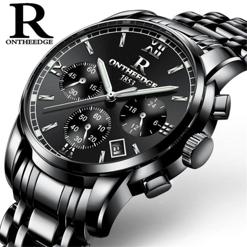 2017 New Luxury Watch Brand RON Quartz Watch Men Steel Fashion Clock Male Waterproof Watches With Complete Calendar RZY026 Malaysia