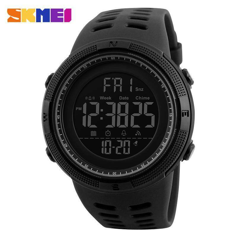 2017 New SKMEI 1251 Men Sports Watches 50M Waterproof Watches Countdown Double Time Watch Alarm Chrono Digital Wristwatches - All Black Malaysia