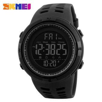 2017 New SKMEI 1251 Men Sports Watches 50M Waterproof Watches Countdown Double Time Watch Alarm Chrono Digital Wristwatches - All Black