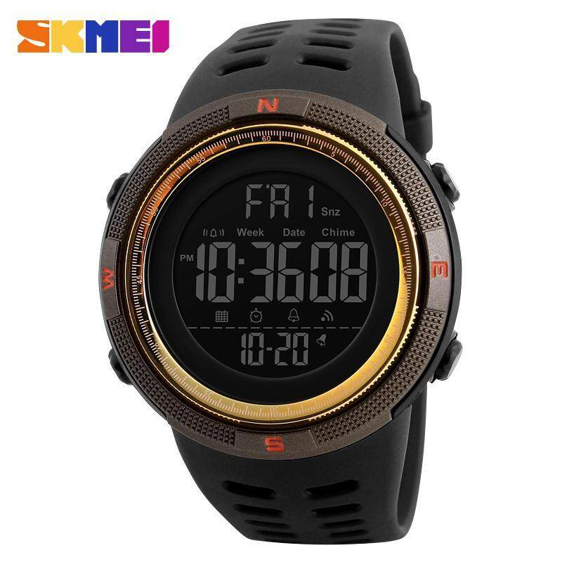 2017 New SKMEI 1251 Men Sports Watches 50M Waterproof Watches Countdown Double Time Watch Alarm Chrono Digital Wristwatches - Black Brown Gold Malaysia