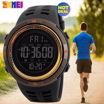 2017 New SKMEI 1251 Men Sports Watches 50M Waterproof Watches Countdown Double Time Watch Alarm Chrono Digital Wristwatches - Black Brown Gold